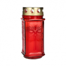 10 x  Grablaterne Ø 7,5 cm · 17 cm rot aus Glas, inkl. Grablicht T3