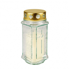10 x  Grablaterne Ø 7,5 cm · 17 cm weiss aus Glas, inkl. Grablicht T3