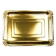 12 x  10 Teller, Pappe eckig 24 cm x 33 cm gold beschichtet