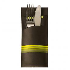 520 Bestecktaschen 20 cm x 8,5 cm schwarz/limone Stripes inkl. farbiger Serviette 33 x 33 cm 2-lag.