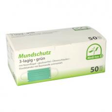 10 x  50 Medi-Inn® Mundschutz Type II, 3-lagig 9 cm x 17,5 cm grün mit Nasenbügel