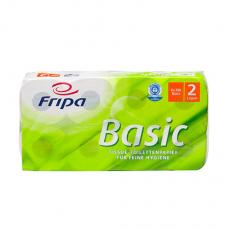 8 x  8 Rollen Toilettenpapier, 2-lagiges Tissue 12 cm x 10 cm weiss Basic 250 Blatt