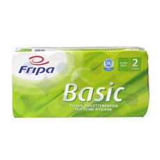6 x  8 Rollen Toilettenpapier, 2-lagiges Tissue Ø 12 cm · 12 cm x 10 cm weiss Basic 400 Blatt