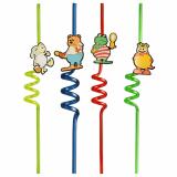 20 x  2 Trinkhalme Ø 6 mm · 28 cm farbig sortiert Funny Animals