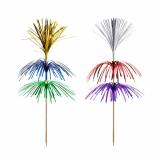 10 x  100 Deko-Picker 18 cm farbig sortiert Feuerwerk 3-lagig