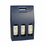 20 x  Wein-Tragekartons mit Sichtfenster 37,5 cm x 25 cm x 9 cm blau für 3 Flaschen