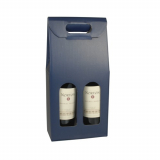 20 x  Wein-Tragekartons mit Sichtfenster 37,5 cm x 18 cm x 9 cm blau für 2 Flaschen
