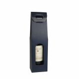 20 x  Wein-Tragekartons mit Sichtfenster 37,5 cm x 10 cm x 9 cm blau für 1 Flasche