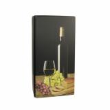 20 x  Wein-Präsentkarton 36 cm x 18 cm x 9 cm schwarz Weißwein für 2 Flaschen