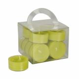 8 x  12 Teelichte Ø 38 mm · 18 mm kiwi in Polycarbonathülle, durchgefärbt