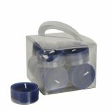 8 x  12 Teelichte Ø 38 mm · 18 mm dunkelblau in Polycarbonathülle, durchgefärbt
