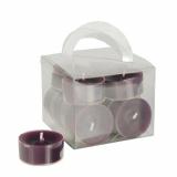 8 x  12 Teelichte Ø 38 mm · 18 mm lila in Polycarbonathülle, durchgefärbt