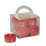 8 x  12 Teelichte Ø 38 mm · 18 mm rot in Polycarbonathülle, durchgefärbt