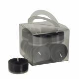 8 x  12 Teelichte Ø 38 mm · 18 mm schwarz in Polycarbonathülle, durchgefärbt