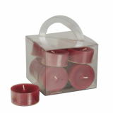 8 x  12 Teelichte Ø 38 mm · 18 mm bordeaux in Polycarbonathülle, durchgefärbt