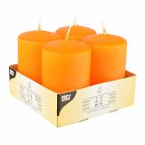 6 x  4 Stumpenkerzen Ø 50 mm · 80 mm orange