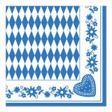 5 x  50 Servietten 1/4-Falz 40 cm x 40 cm Bayrisch Blau
