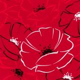10 x  20 Servietten, 3-lagig 1/4-Falz 40 cm x 40 cm Red Passion