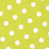 10 x  20 Servietten, 3-lagig 1/4-Falz 40 cm x 40 cm limonengrün Dots