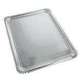 10 x  10 Servierplatten, Pappe, PET-beschichtet eckig 34 cm x 45,5 cm silber