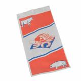 1000 Fleischerbeutel, Kraftpapier, gefädelt 28 cm x 14 cm x 6 cm weiss mit Druck, klein