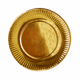 15 x  6 Teller, Pappe Ø 19 cm gold