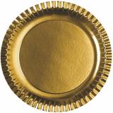 15 x  6 Teller, Pappe rund Ø 29 cm gold