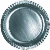 15 x  6 Teller, Pappe rund Ø 29 cm silber