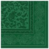 5 x  50 Servietten ROYAL Collection 1/4-Falz 40 cm x 40 cm dunkelgrün Ornaments
