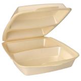 4 x  50 Menüboxen mit Klappdeckel, XPS 2-geteilt 7,5 cm x 22 cm x 28,5 cm beige laminiert