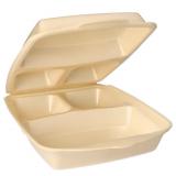 4 x  50 Menüboxen mit Klappdeckel, XPS 3-geteilt 7,5 cm x 22 cm x 28,5 cm beige laminiert
