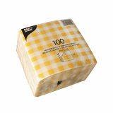 16 x  100 Servietten, 1-lagig 1/4-Falz 30 cm x 30 cm gelb/weiss Karo
