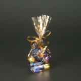 20 x  10 Bodenbeutel, PP 16 cm x 9,5 cm x 4 cm transparent Sterne, gold