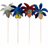 5 x  50 Deko-Picker 19,5 cm farbig sortiert Palmblätter