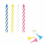 10 x  24 Geburtstagskerzen mit Halter 6 cm farbig sortiert