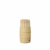 12 x  200 Zahnstocher, Holz pure rund 6,8 cm im Spender aus Holz