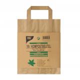 20 x  15 Kompostbeutel aus Papier mit Henkel 10 l 28 cm x 22 cm x 14 cm braun bedruckt