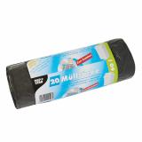 12 x  20 Müllsäcke mit Zugband, LDPE 60 l 75 cm x 65 cm grau