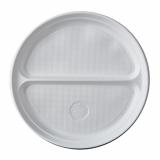 10 x  100 Menü-Teller, PP 2-geteilt Ø 21,9 cm · 2,6 cm weiss ohne Anfasser