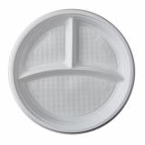 10 x  100 Menü-Teller, PP 3-geteilt Ø 21,9 cm · 2,6 cm weiss ohne Anfasser