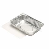 10 x  10 Schalen, Alu + Einlegedeckel, PE-beschichtet eckig 0,8 l 4 cm x 15 cm x 21,4 cm