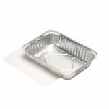 10 x  25 Schalen, Alu + Einlegedeckel, PE-beschichtet eckig 0,8 l 4 cm x 15 cm x 21,4 cm