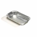 10 x  10 Schalen, Alu + Einlegedeckel, PP-beschichtet eckig 0,65 l 3,4 cm x 13 cm x 22 cm für Lasagne