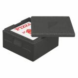 5 x  Isolier-Transportbehälter, EPP 41 cm x 41 cm x 24 cm schwarz Pizza