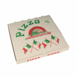 50 Pizzakartons, Cellulose eckig 33 cm x 33 cm x 4 cm Italienische Flagge