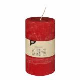 6 x  Zylinderkerze Ø 70 mm · 130 mm rot Rustic durchgefärbt