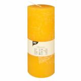 6 x  Zylinderkerze Ø 70 mm · 190 mm gelb Rustic durchgefärbt