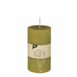 6 x  Zylinderkerze Ø 70 mm · 130 mm kiwi Rustic durchgefärbt
