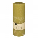 6 x  Zylinderkerze Ø 70 mm · 190 mm kiwi Rustic durchgefärbt