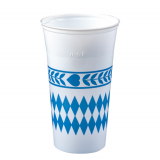 16 x  65 Trinkbecher, PS 0,5 l Ø 9,5 cm · 15,5 cm Bayrisch Blau